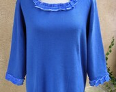 Women's 1X Upcycled Pullover Sweater - Blue on Blue