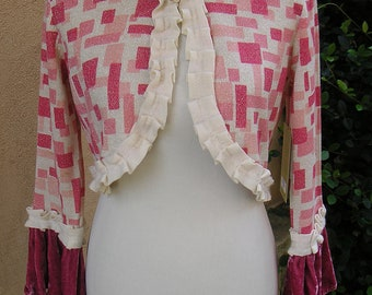 Women's Samll/Medium Upcycled Bolero Sweater- Geometric