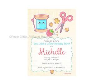 Costura artesanal fiesta invitación para la fiesta de cumpleaños o ducha o gracias tarjeta imprimible PDF o JPG