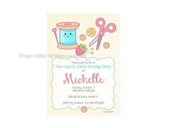 Sewing Craft Party Invitation for Birthday or Shower party or Thank You Card Printable PDF or JPG