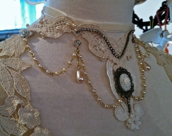 Wedding Marie Antoinette Bridal Vintage Lace and Pearl one of a kind Necklace