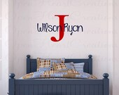 Boy Name Wall Decal with Initial - Childrens Wall Decals - Personalized Boy Name Wall Letters - LARGE IN0044