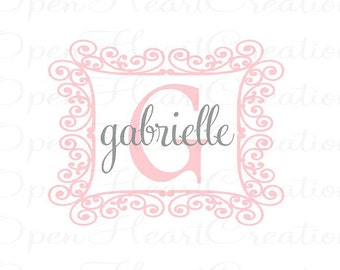 Girl Name Decal with Ornate Swirl Frame Border - Initial and Name Wall Decal for Baby Girl Nursery 22h x 28w FN0175