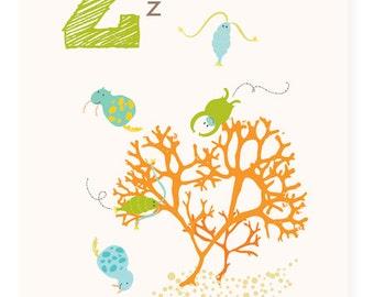 ABC card, Z is for Zooplankton, ABC wall art, alphabet flash cards, nursery wall decor for kids