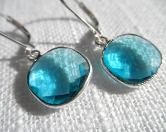 Hydro Quartz earrings - Blue earrings - silver earrings - E A R R I N G S 212