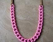 Chain Necklace - Bubblegum Pink Chunky Chain - Stellar Statement Necklace No. 9