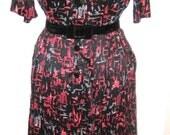 SALE Fantastic 50s colorful Atomic print jersey dress Shelton Stroller  S/M