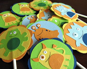 Little Monster Party Cupcake Toppers, Little Monster Birthday Party, Little Monster Cupcake Toppers, Monster Cupcake Toppers, Set of 12