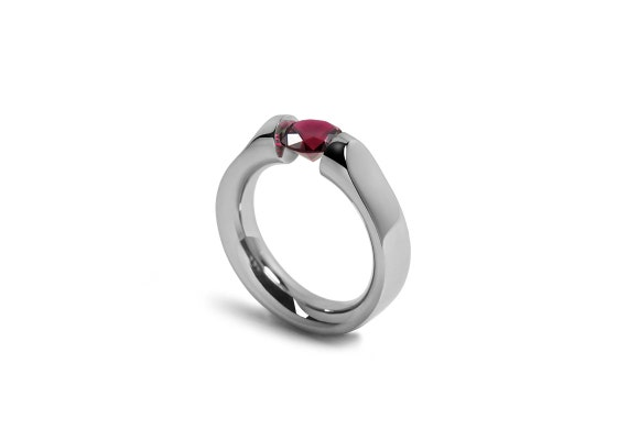 Garnet Ring Tension Set Modern Comfort Fit Mounting in Stainless Steel