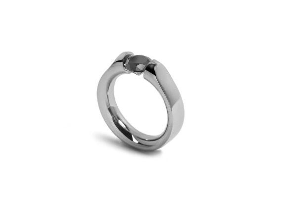 Tension Set Black Diamond Stainless Steel Ring