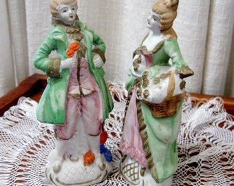 Vintage Figurines Japanese Victorian Colonial Man Woman Bisque 1950s