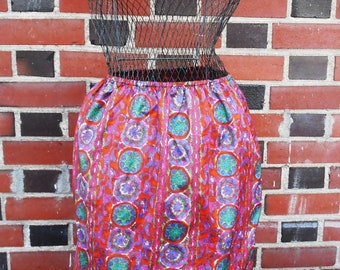 Vintage 1960s Pink and Green Jewel Toned Pencil Skirt Paisley Slip by Laros M/L