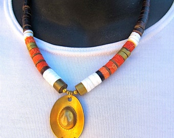 Reclaimed Native Necklace with Cowboy Hat Pendant in Coral and Brass