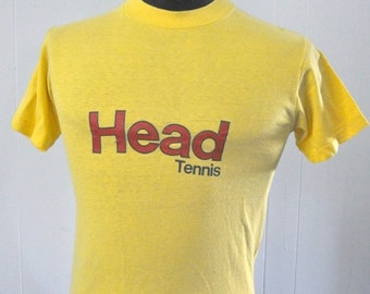 Vintage Head Tennis Tshirt Yellow Red Tee Sports 80s SMALL