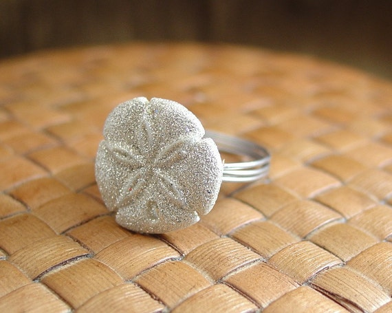 Sand Dollar Button Ring - Just For Fun - Made to Order - Any Size