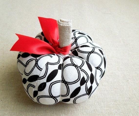 Black and White Geometric Print Fabric Pumpkin Pincushion