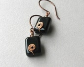 Black Czech Glass and Antiqued Copper (USA) Earrings