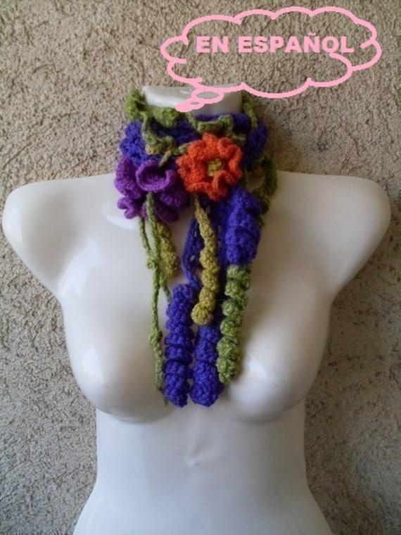 PATRON TUTORIAL Crochet bufanda cuello Formas libres freeform , Patron de crochet electronico , desgalo ahora