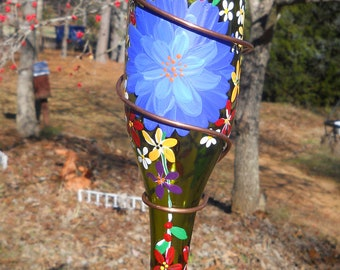 Hummingbird Feeder Recycled Bottle Beautifully Hand Painted