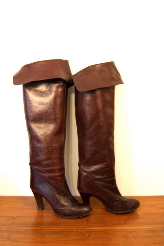Resreved for Karen - Vintage Foxy 70s Knee High Boots Leather Mahogany Brown High Heel 1970s NINA Bohemian Tall Riding Boots Size 5.5