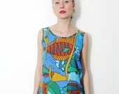 Vintage tank / colorful fish printed boxy top / size S
