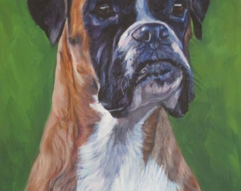 BOXER dog portrait art canvas PRINT of LAShepard painting 8x10""