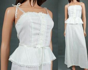 White Sun Dress XS - Vintage Prairie Girl Sleeveless Long Hippie Wedding Gown Juniors Size Extra Small FREE US Shipping