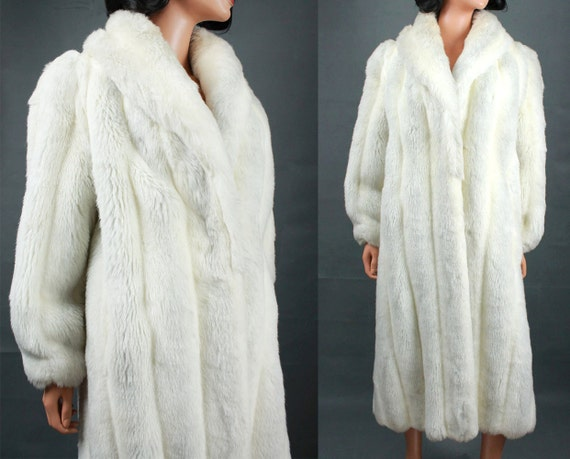 Long White Faux Fur Coat | Down Coat