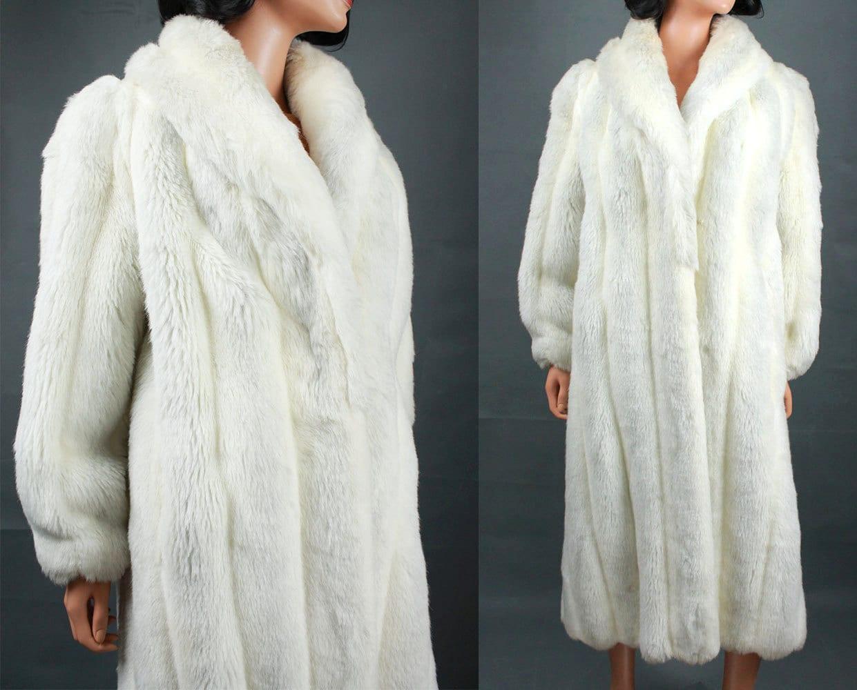 Faux Fox Fur Coat M Vintage 80s Glam Long Full by HepCatClothes