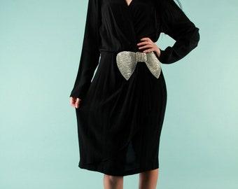 Vintage Black Cocktail Dress Silver Beaded Bow Knee Length V- Neck Medium 80s 70s