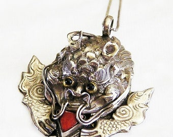Sterling Dragon Chinese Art Deco Figural Pendant Necklace