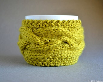 Coffee Mug Cozy, Coffee Cozy, Tea Cozy, Coffee Cup Cozy, Coffee Mug Sleeve, Coffee Cup Sleeve, Coffee Sleeve, Gifts Under 20, Chartreuse