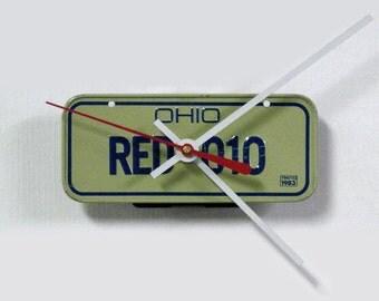 1983 Ohio Bike License Plate Wall Clock - OH Mini Bicycle License Tag - State Decor