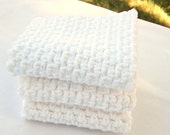 Cotton Washcloths, Crochet Washcloths, Cotton Facecloths, Crochet Facecloths, White Washcloths, Set of 3