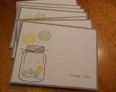 Mason Jar Thank You Notecards, Mason Jar Bridal Shower Gift, Mason Jar Wedding Invitations, Teacher Gift, Caterpillar Notecards - Set of 8
