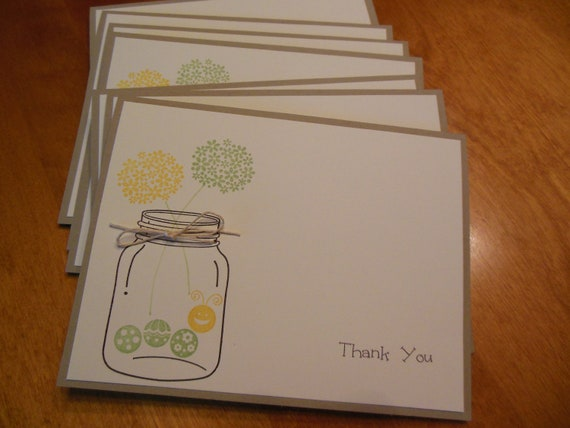 Rustic Stationery, Mason Jar Stationery, Bridal Stationery, Rustic Wedding, Teacher Gift, Notecard Set - Set of 8