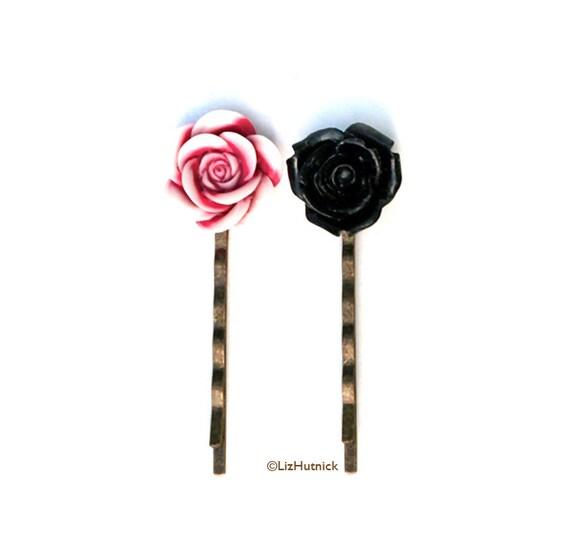 Candy Jar Flower Bobby Pins. Hair Accessories. Black Magenta White