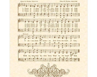 NEAR To The HEART Of GOD --- 8 x 10 Antique Hymn Art Print on Natural Parchment in Sepia Brown Ink Sheet Music