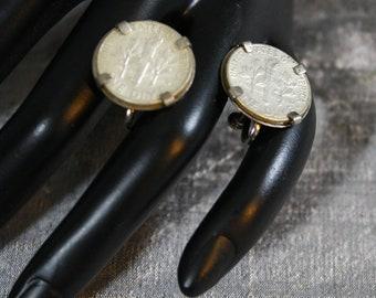 Vintage Silver Dime Screw-back Earrings