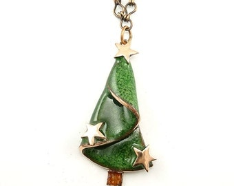 Christmas Tree with Copper Stars Pendant