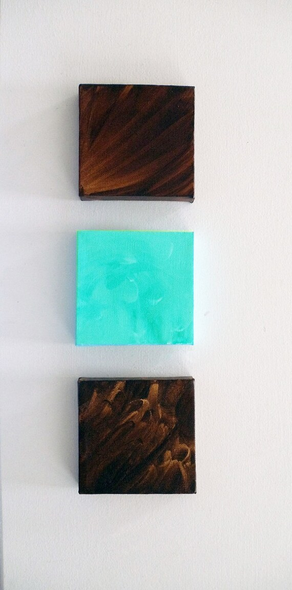 Art For Nursery-Nursery-Nursery Art-Nursery Decor- Turquoise - Brown - Set of 3 Mini Canvases