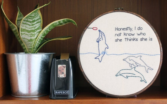 "Uppity Dolphin Hand Embroidery - 8"" Hoop"