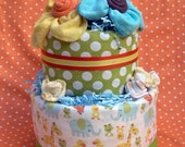 Unique Diaper Cake, New Baby Gift, Gender Neutral Shower Gift, Welcome Home Gift, Corporate Baby Gift, Safari Animals Diaper Cake, Baby Cake