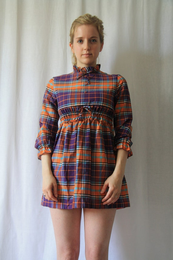 1960s Madras Mini Dress in Purple and Orange