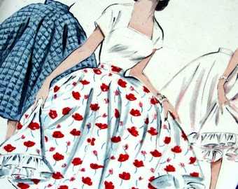 """1950s Butterick Pattern 6858  - Vintage 50s Circle skirt with Ruffled Petticoat - UNCUT - Waist 23"""" or 24"""""""