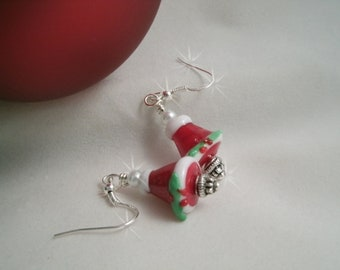 Santa Hats Christmas Earrings Lampwork with Glass Pearl bead 925 Sterling silver wires
