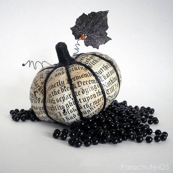 Poe Pumpkin Harvest 124, decoupage, Halloween, The Raven, macabre, goth, ooak, cream and black