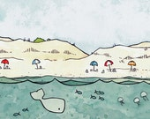 Nautical Beach and Whale Nursery Print 5x7