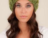 Lime Green Wool Hat, Knit hat in Green, Slouchy Hat, Warm Winter Hat, Crochet Hat Green, Nana Hat, Knit Slouchy Hat