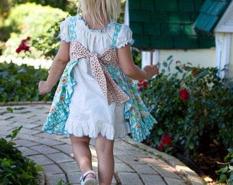 Girly Pinafore Apron Ruffle Trimmed  Dress MADELEINE PDF Pattern Juvie Moon Designs   Custom Boutique